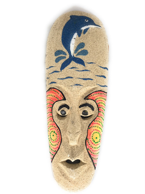 "Beach Sand Mask 12"" w/ Dolphin - Decorative Primitive Art 