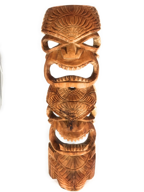 "Premium Outdoor Tiki Mask 24"" Love & Prosperity - Hand Carved 