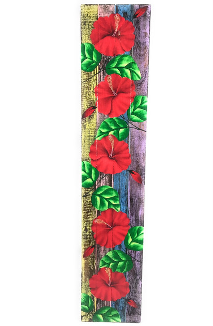 "Hibiscus Flower Painting on Wood Planks 40"" X 8"" Rustic Wall Decor 