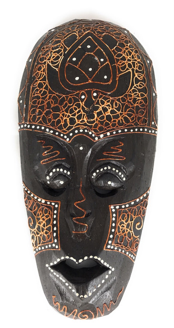 "Tribal Tiki Mask 8"" w/ Turtle - Primitive Art 