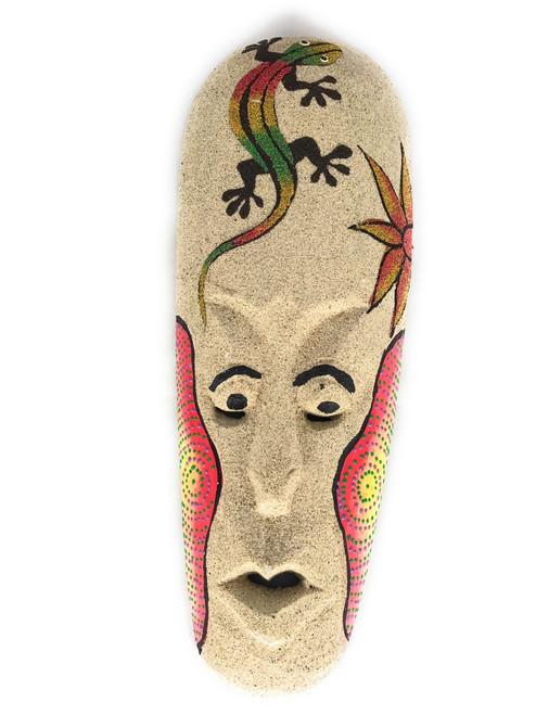 "Sand Tiki Mask 12"" w/ Gecko - Decorative Primitive Art | #wib370730c"
