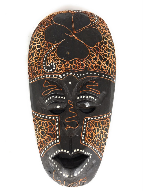 "Tribal Tiki Mask 8"" w/ Hibiscus- Primitive Art 