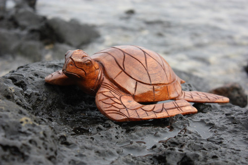 "Carved Hawaiian Turtle Honu 12"" Stained - Hand Carved"