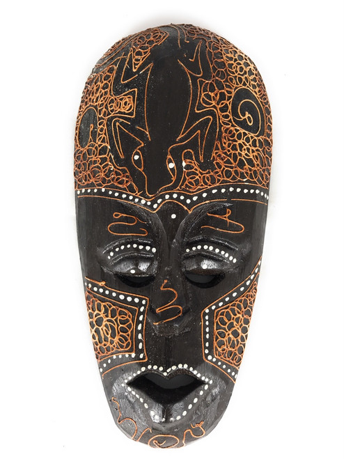 "Tribal Tiki Mask 8"" w/ Gecko - Primitive Art 