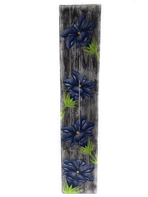 "Gentian Flower Painting on Wood Planks 40"" X 8"" Rustic Wall Decor 