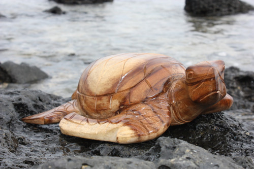 "Carved Hawaiian Turtle Honu 16"" Natural - Hand Carved"