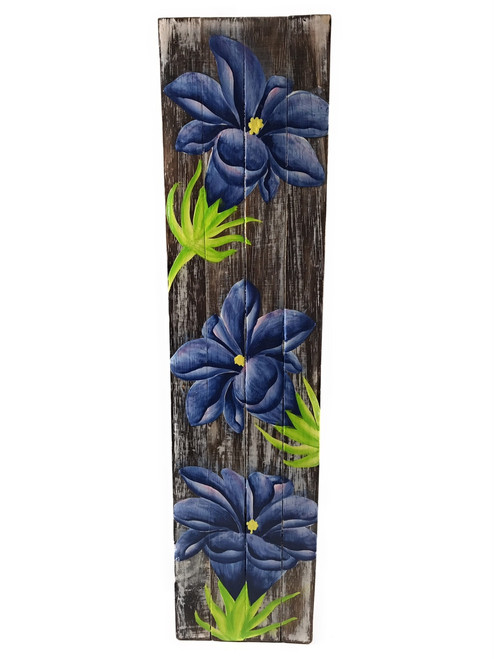 "Gentian Flower Painting on Wood Planks 20"" X 5"" Rustic Wall Decor 