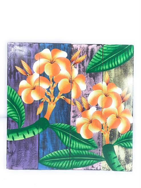 "Plumeria Flower Painting on Wood Planks 16"" X 16"" Rustic Wall Decor 