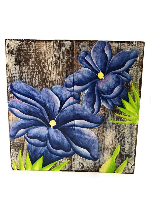 "Gentian Flower Painting on Wood Planks 8"" X 8"" Rustic Wall Decor 