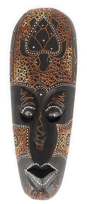 "Tribal Mask 12"" w/ Turtle - Primitive Art Tiki 
