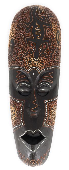 "Tribal Mask 12"" w/ Gecko - Primitive Art | #wib370430h"