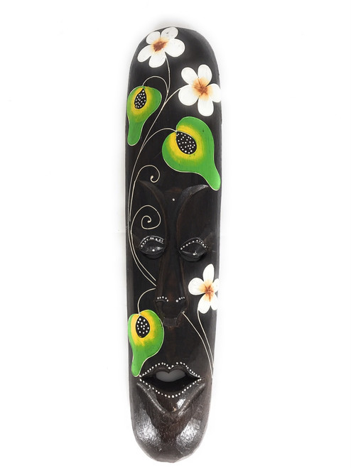 "Tribal Tiki Mask 20"" Floral - Primitive Art 
