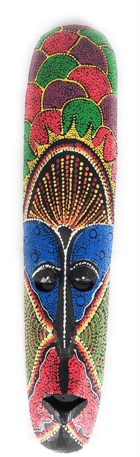 "Colorful Tribal Tiki Mask 20"" Tattoo - Primitive Art 