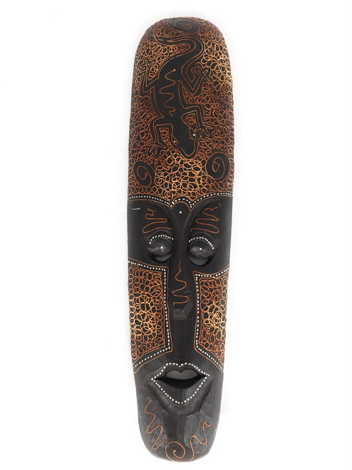 "Tribal Tiki Mask 20"" w/ Gecko - Primitive Art 