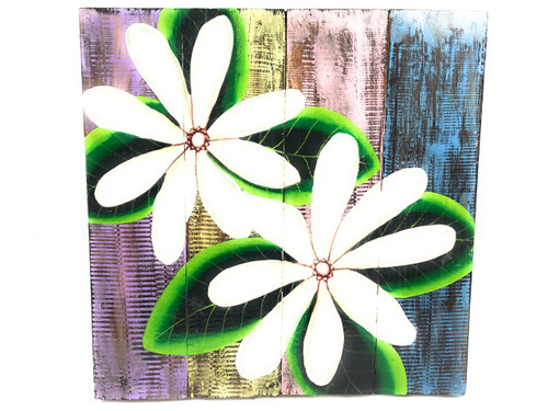 "Tiare Flower Painting on Wood Planks 16"" X 16"" Rustic Wall Decor 