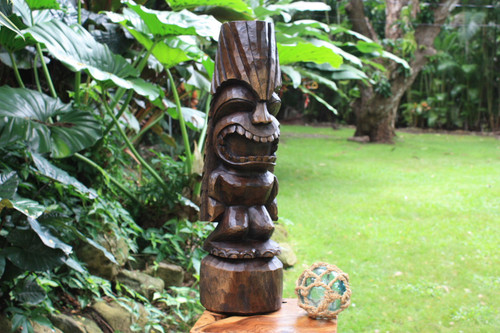 Love Tiki Totem 26 in Stained Hand Carved | Hawaiian Outdoor | #yda1100160b