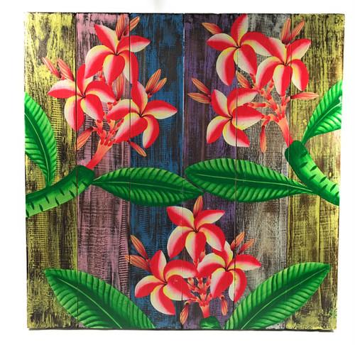 "Plumeria Flower Painting on Wood Planks 24"" X 24"" Rustic Wall Decor | #zon05c"