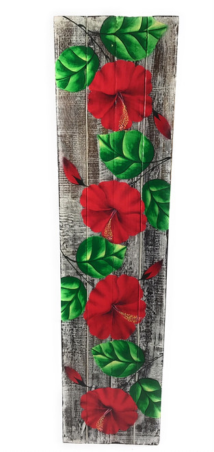 "Hibiscus Flower Painting on Wood Planks 32"" X 8"" Rustic Wall Decor 