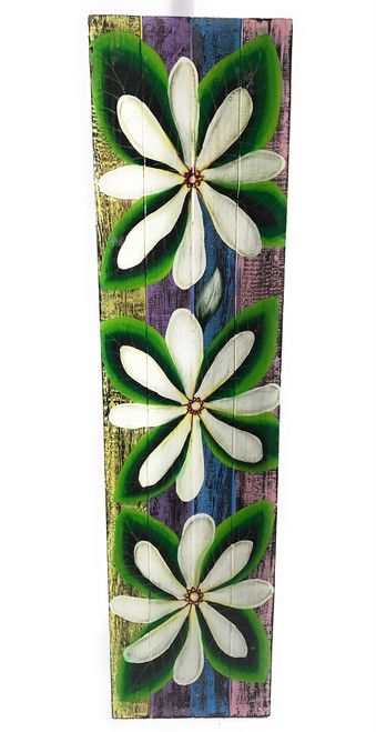 "Tiare Flower Painting on Wood Planks 32"" X 8"" Rustic Wall Decor 