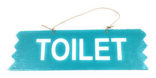"Cute ""Toilet"" Wooden Sign 12"" X 4"" - Blue | #snd25112b"