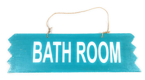 "Cute ""Bathroom"" Wooden Sign 12"" X 4"" - Blue 