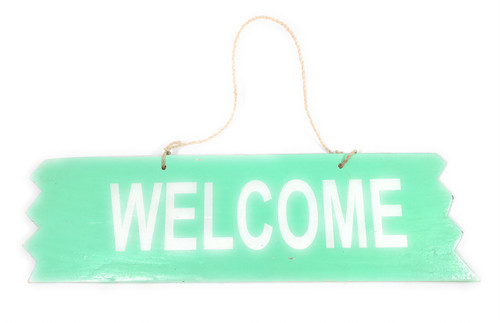 "Cute ""Welcome"" Wooden Sign 12"" X 4"" - Turquoise 