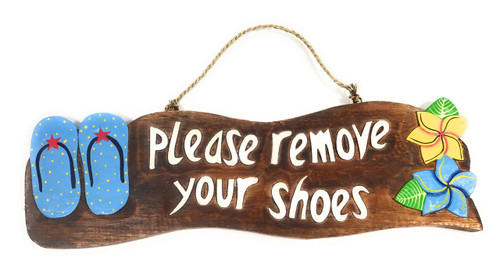 """Please Remove Your Shoes"" Beach Sign w/ Slippers 17"" - Blue 