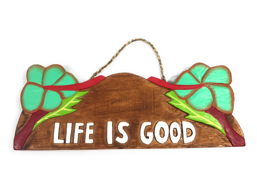"""Life Is good"" w/ Hibiscus Wooden Sign 11"" X 4.5"" - Turquoise 