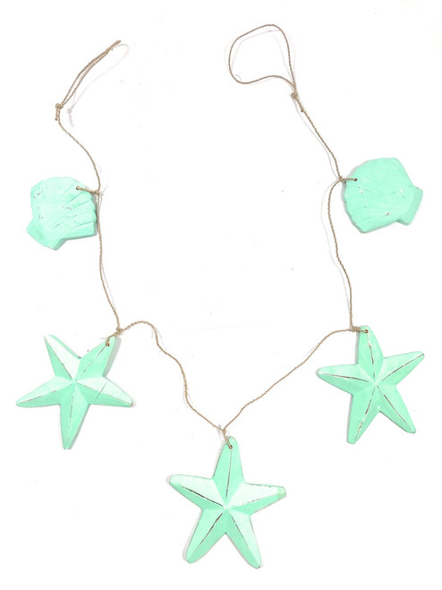 """Garland w/ 3 Starfish and 2 Shells 40"""" - Turquoise