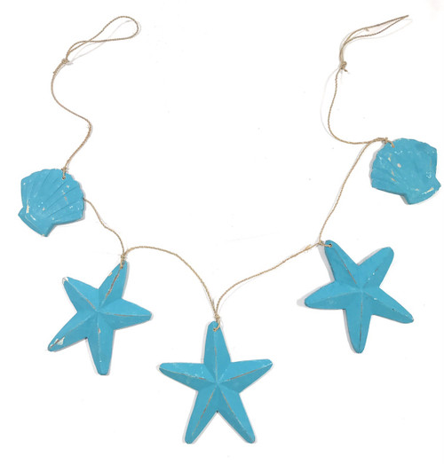 "Garland w/ 3 Starfish and 2 Shells 40"" - Blue 