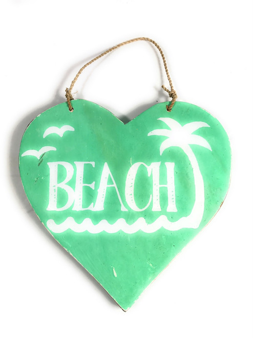 "Wooden ""Beach"" Heart Sign 5"" - Turquoise 