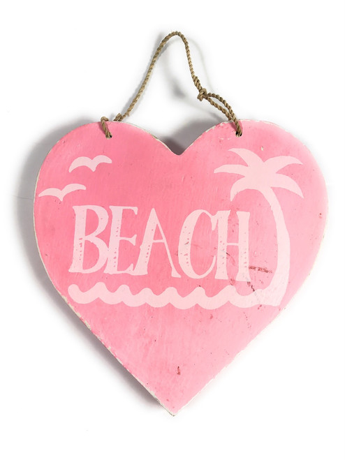 "Wooden ""Beach"" Heart Sign 5"" - Pink 