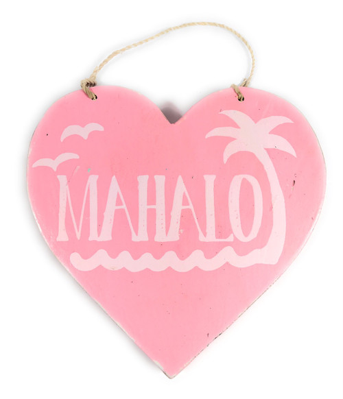 "Wooden ""Mahalo"" Heart Sign 5"" - Pink 