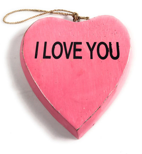 "Wooden ""I LOVE YOU"" Heart Sign 5"" - Pink 