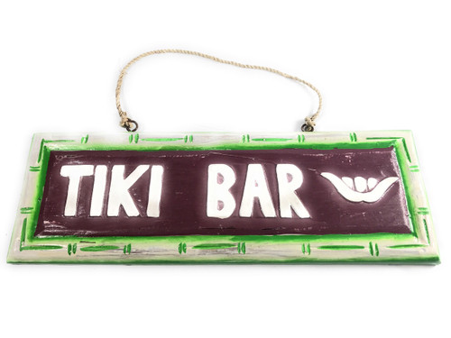 """Tiki bar"" Wooden Sign w/ Shaka Bamboo Design 12"" 