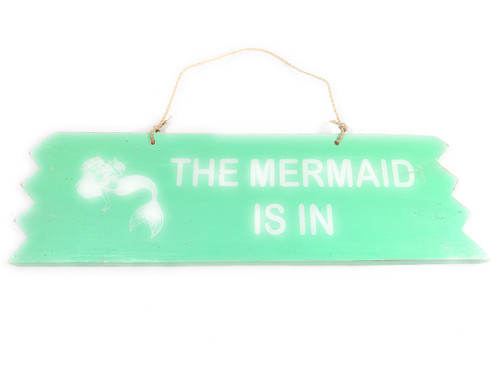 "Cute ""The Mermaid Is In"" Wooden Sign 12"" X 4"" - Turquoise 