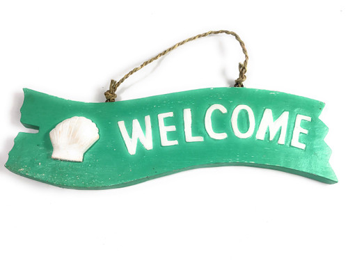"""""""Welcome"""" Wooden Sign w/ seashell 12"""" X 4"""" - Mint 