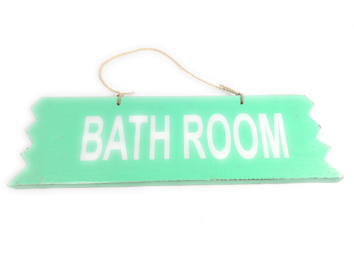 """Cute """"Bathroom"""" Wooden Sign 12"""" X 4"""" - Turquoise 