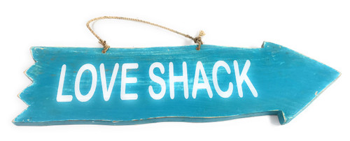 "Arrow Sign ""Love Shack"" Wooden 12"" X 4"" - Blue 