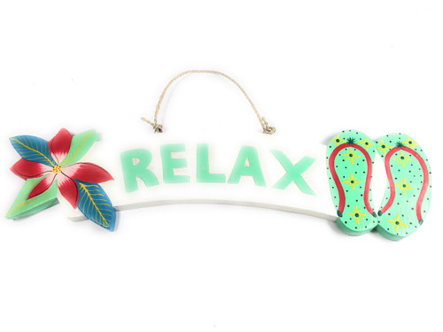 """""""Relax"""" Beach Sign w/ Plumeria & Slippers 18"""" - Turquoise 