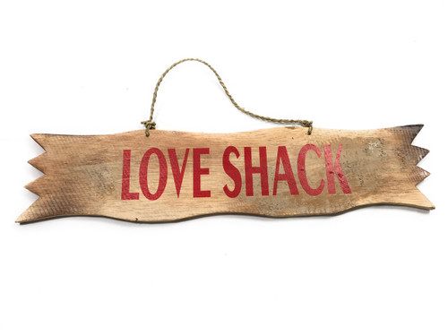 """Love Shack"" White Wash & Red Sign - 20"" - Home Decor 