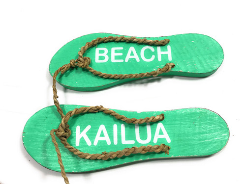 "Pair Of Wooden Slippers ""Kailua Beach"" Hanging Sign 8"" - Mint 