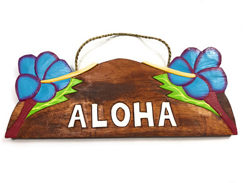 """Aloha"" w/ Hibiscus Wooden Sign 11"" X 4.5"" - Blue 