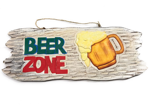 "Tiki Bar ""Beer Zone"" Wooden Sign Happy Hour Sign 20"" 