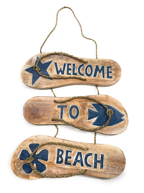 "Wooden Slippers Sign ""Gone To Beach""  - Whitewash & Blue 