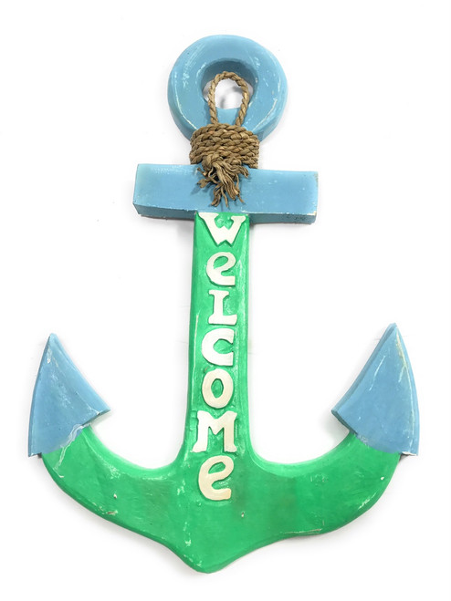 "Welcome Anchor 16""  Wall Hanging - Blue & Turquoise 
