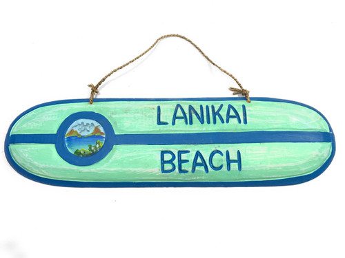 """Lanikai Beach"" Wooden surf sign 20"" w/ custom painting 