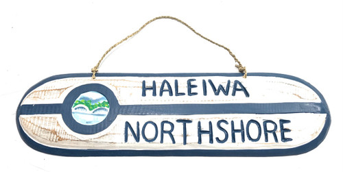 """Haleiwa Northshore"" Wooden surf sign 20"" w/ custom painting 
