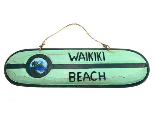 """Waikiki Beach"" Wooden surf sign 20"" w/ custom painting 