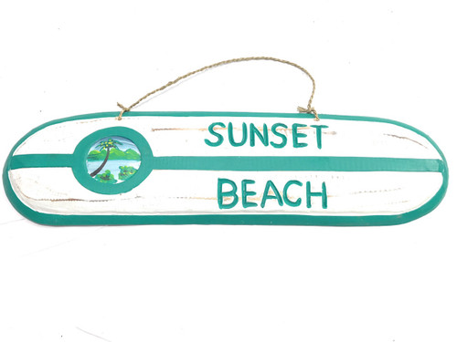 """Sunset Beach"" Wooden surf sign 20"" w/ custom painting 